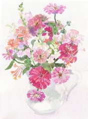 zinnias in ironstone pitcher 2011 Nancy Howard